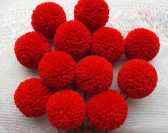 Red Yarn Pom Pom Flowers: Set of 12