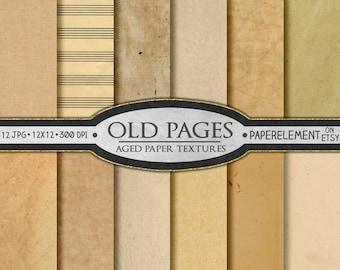 Digital Old Paper Digital Paper Pack: Antique Paper Textures, Vintage Old Digital Paper, Yellowed Paper, Aged Paper Scrapbook Pages Download