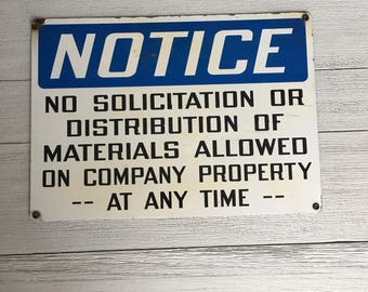 Vintage Metal No Soliciting Sign Blue White Industrial Decor