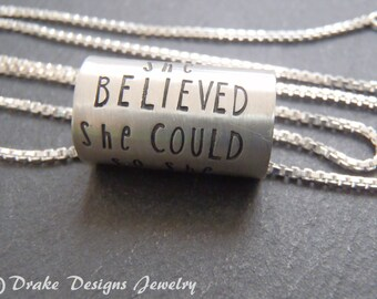 Inspirational sterling silver she believed she could so she did necklace college graduation gift for her
