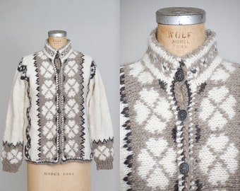 60s Norwegian Sweater Viking Knit Brown Wool w/ Silver Button Up Nordic Cardigan Sweater