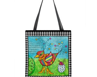 Mother bird tote bag, baby bird tote bag, colorful tote bag, mixed media art, whimsical, large tote, gift for her, art tote