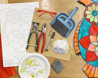 Kasia Mosaics Online Stained Glass Mosaic Owl Class - Glass Cutting - Stained Glass Mosaic - How To