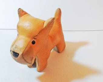 Tan Faux Leather Cloth Stuffed Schnauzer Scottie Dog Toy Oil Cloth with painted eyes and nose