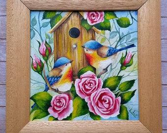 Original oil painting on canvas, Birds of paradise, Artwork.