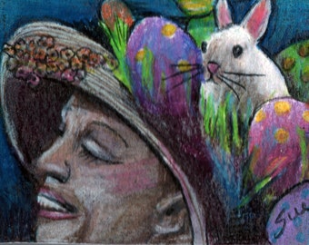 original art drawing aceo card Easter bonnet lady in hat with eggs and bunny