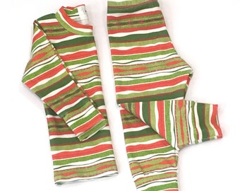 Christmas Pajama Set. Kids Pajama Set Size Baby - Toddler. Red & Green Stripe Organic Cotton Clothing Set. Gender Neutral Christmas Outfit.