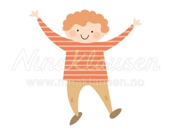 Happy Boy Clipart Illustration for Small Commercial Use - 0071