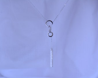 Lariat Necklace. Long Necklace. Sterling silver Y Necklace. Silver Bar Drop Necklace