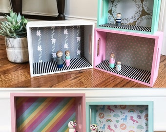 Custom Made to Order Simple Dollhouse - Nesting dollhouses - TwoSidesoftheRainbow