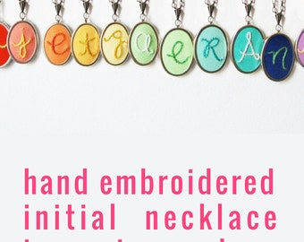 Personalized Jewelry. Initial Necklace. Hand Embroidery. Embroidered Pendant. Letter Necklace. Colorful Initial Jewelry. Hand Embroidered