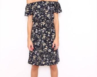 Vintage 90s Reworked Off The Shoulder Floral Summer Dress. Medium. UK 12.