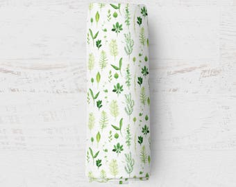 Organic Swaddle Blanket Leaves. Leaves Organic Blanket. Baby Swaddle. Newborn Swaddle. Gauze Blanket. Woodland Blanket.