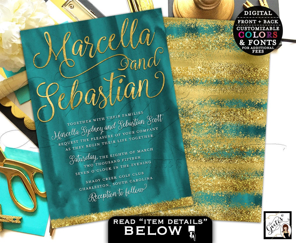 Teal and gold wedding invitation, green and gold glitter wedding ...
