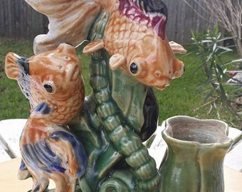 vintage Majolica 2 fish. Beautiful colors very Unique piece