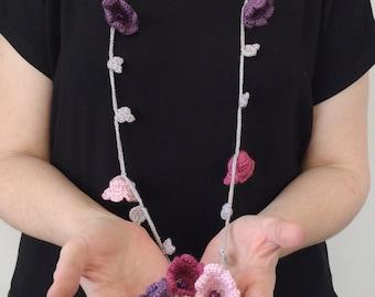 Flower Scarf, Crochet Necklace, Skinny Scarf, Beaded Necklace, Flowers Lariat Necklace, Oya Crochet Accessory, Mother's Birthday Gift