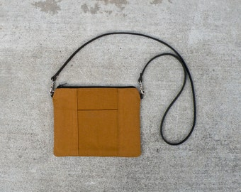 Handmade Tiny Purse in Nutmeg - Small Canvas Crossbody Bag - Handmade Brown Bag with Leather Strap