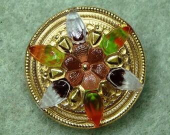 """Czech Glass Button 12""""= 27mm handpainted - blossom, orange, pink, green, gold (B27238)"""