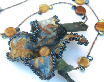 Necklace with Fabric Flower, Hand Beaded OOAK Statement Necklace, Fiber Art Jewelry, Unique Beaded Necklace, Rustic Boho Chic, Wearable Art