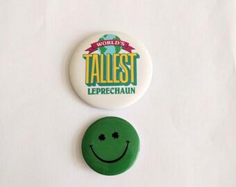 Vintage St. Patrick's day pin lot buttons World's tallest Leprechaun smiley happy face shamrock Hallmark Cards novelty lapel brooch