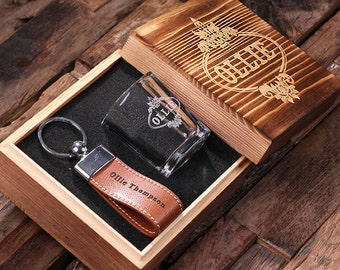 Set of 4 Personalized Leather Engraved Key Chain Key Ring