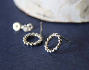 Sterling Dotted Circle Post Earrings- Free Shipping, stud earrings, silver stud earrings,