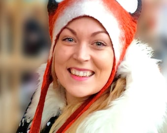 Fox Hat, Woodland Animal Larp fancy dress headdress, Fantastic Mr Fox theatre costume design, festival wear and warm Winter animal hat.