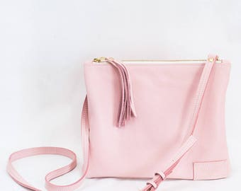 Pink Leather Crossbody - Leather Purse with Zipper & Tassel - Blush Crossbody - Pink Leather Clutch - Pink Purse