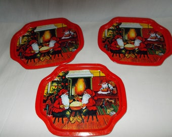 Vintage Small Metal Christmas Tip Trays