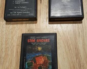 Atari 2600 Tele-Games Bundle - Breakaway, Asteroids, Star Raiders Original Atari Sears! Retro video game Cartridges! Rare