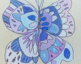 Butterfly Jennifer Mercede painting 4x4in 'Purpz'