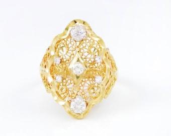 Antique, Art Deco, 14k, Yellow Gold, Diamond, Dinner Ring