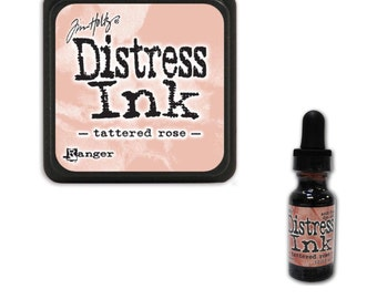 Tim Holtz Ranger Distress Ink Duo-Tattered Rose-Ink Pad and Reinker Bundle