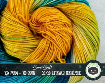 Blue and Yellow variegated Hand Dyed Yarn, Sock Yarn, Merino Wool Yarn, Fingering Yarn, Variegated Yarn, SWM, Heirloom Luxe, Sea Salt