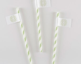 Emma Striped Drink Straw with Flag