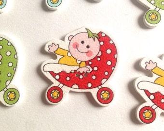 20x botones madera baby stroller buttons  sewing scrapbooking, clothing accessories botones de madera forma madera detalle bautizo 33*33 mm