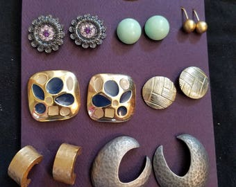 11 pair of beautiful vintage stud earrings