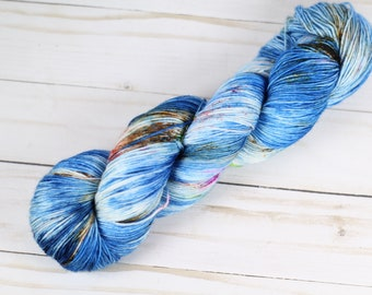 Native, hand dyed yarn, variegated, speckled, Blue,red,brown, green, pink