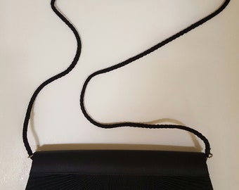 VINTAGE BLACK EVENING bag with convertible cord strap - so adorable and mint condition!