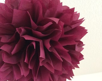 SANGRIA tissue paper pompom burgundy wedding decorations wine tasting party dessert bar boho baby bridal shower aisle marker arch poms chair