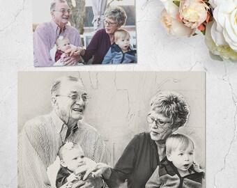Custom Family Portrait, Digital Art, Hand Drawn Portrait, custom portrait, drawing from photo, Grandparents Gift,Sketch Art,Family Portrait