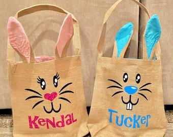 BURLAP BUNNY BAGS, Burlap Easter Bunny Bags, Easter Baskets, Personalized Easter Bags, Personalized Bunny Bag, Bunny Tote Bag, Bunny Face