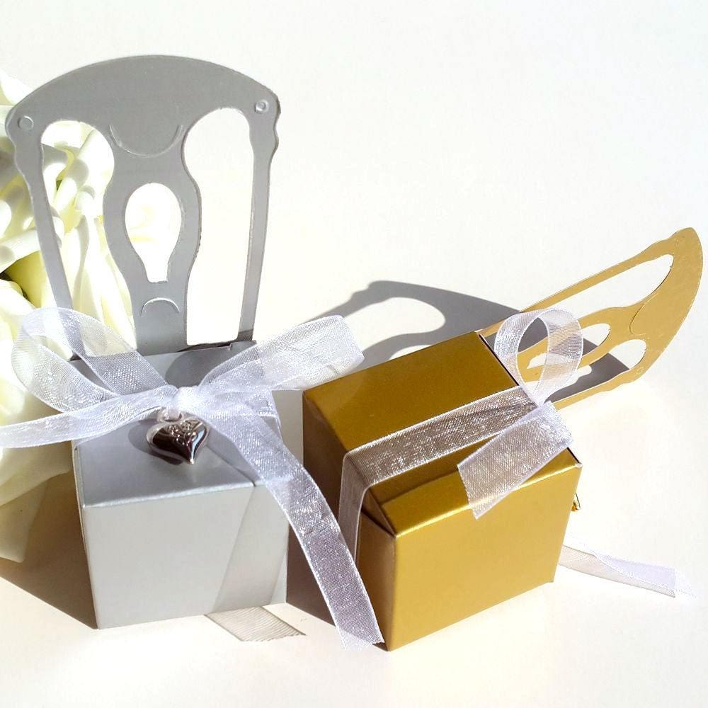 100 Wedding Favor Box with Heart Pendant/Gold Wedding Chair Gift Box ...