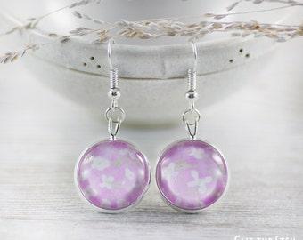 Pink Earrings - Earrings - Fashion Earrings - Jewelry - White Earrings - Art Jewelry - Flower Earrings (0-31E)