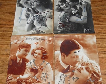 20% Off Lot of ~4~ Real Photo Postcard/Postcards~Loving Couples~Glitter.