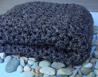 Crochet Shawl, Meditation Shawl, Crocheted Shawls, Shawl, Shawl Crochet, Graphite Gray Shawl, Gift for Him, Grandma Gift, Wraps Shawls