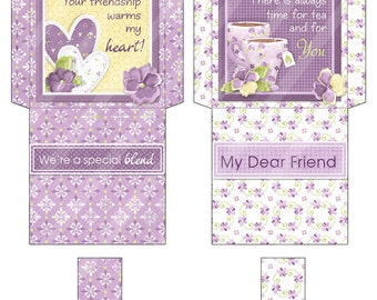 Printable Digital Tea Bag Wrapper, Tea Bag Envelope, Dear Friend