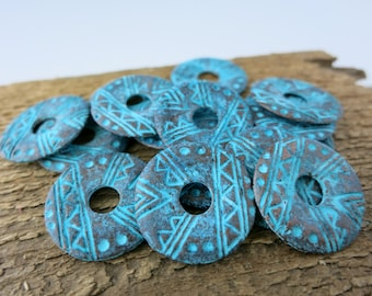 2 Native Design Etched Discs, Mykonos Green Patina, Metal Casting, 20mm, Lead Free Metal, Made in Greece, MX2025