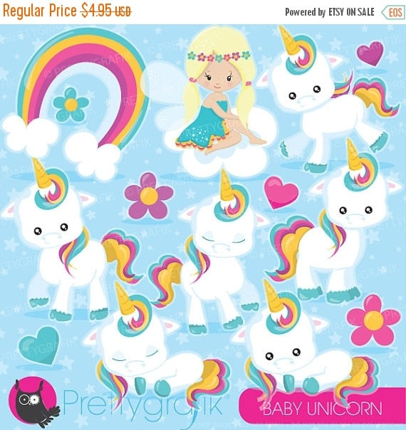 80 OFF SALE Baby Unicorn Clipart Commercial Use Unicorns Vector Graphics Rainbow Digital Clip Art Images