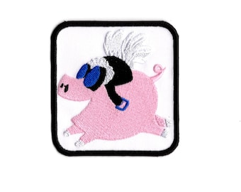 Flying pig patch when pigs fly Iron to Sew on Badge
